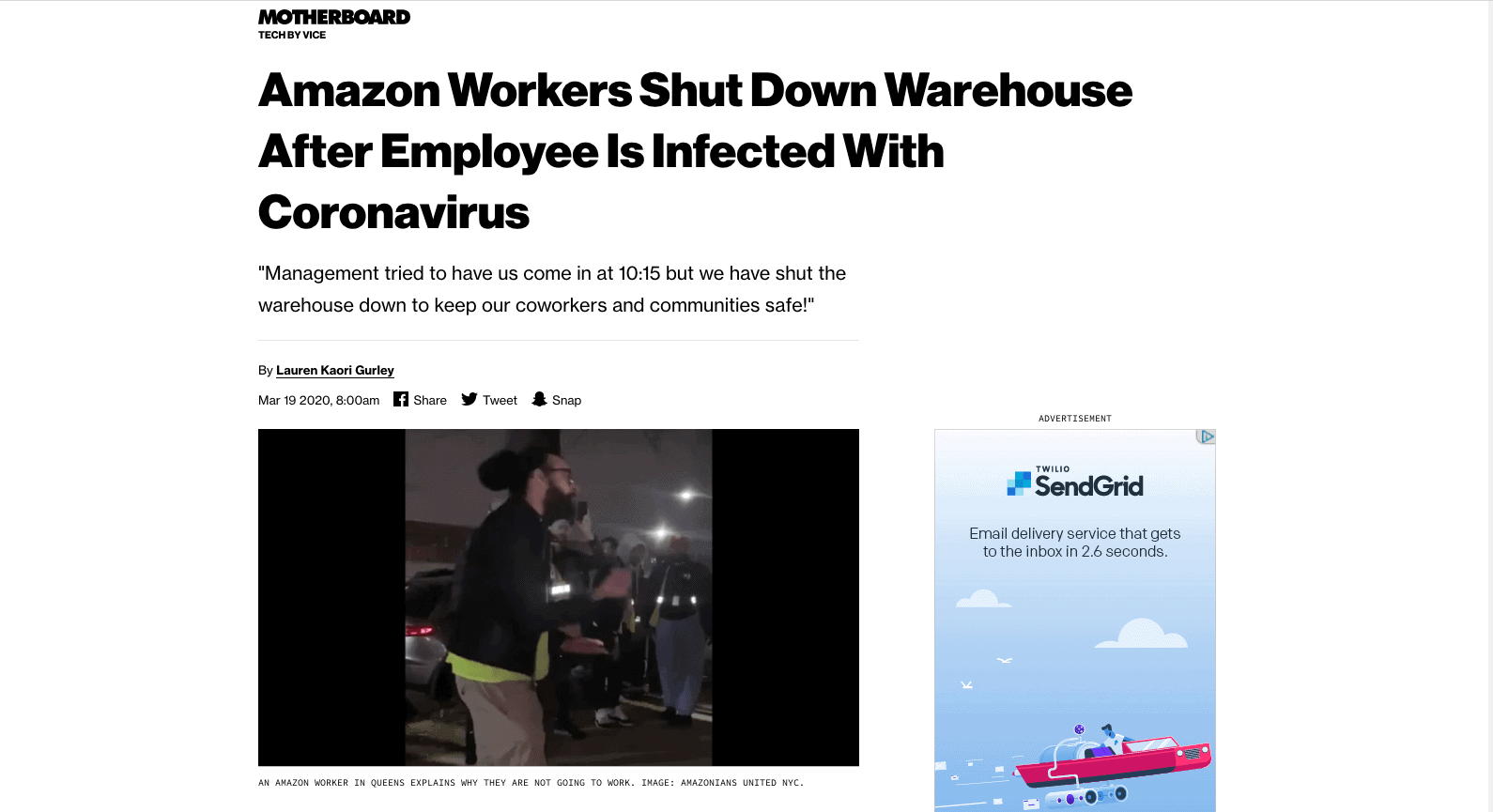 Amazon workers agitating due to health concerns.